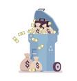 light blue trash bin with money vector image