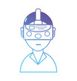 line boy with 3d mask glasses technology vector image