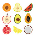 set with slices of fruits vector image