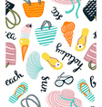 Summer seamless pattern with beach accessories vector image