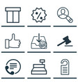 set of 9 commerce icons includes price telephone vector image