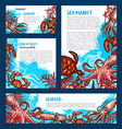 posters or banners for fish seafood market vector image vector image