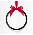 Black holiday round frame with red bow and silky vector image