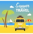 Summer beach camping island landscape with surfing vector image