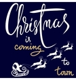 Christmas gold and red lettering design Christmas vector image