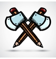 Axe with pencil cartoon vector image