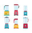 blender juicer mixer kitchen appliance icon set vector image