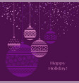 christmas bauble decoration in violet color vector image