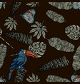leaves butterfly and toucan seamless pattern vector image