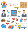 online shopping hand drawn doodle icons set vector image
