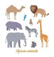 Set of African Animals Flat Design vector image