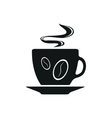 Single black coffee cup or mug icon vector image