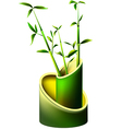Vase of bamboo with young bamboo shoots vector image