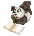 A panda with an empty book vector image vector image