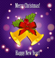 Bells with ribbon and mistletoe New Year greeting vector image