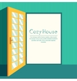 Vintage living colorful open door on house vector image