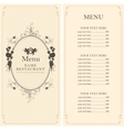 menu with floral ornaments vector image vector image