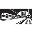 Platform of subway station with trains vector image