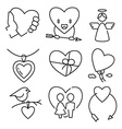 linear flat color love and wedding icons vector image