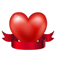 heart and red ribbon vector image vector image