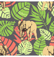 Nature pattern exotic jungle leaves and elephant vector image vector image