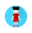 Chinese Girl flat icon on the blue circle with vector image