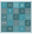 Outline icon set Education and school Flat linear vector image