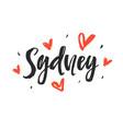 sydney modern city hand written brush lettering vector image