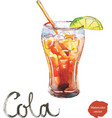 watercolor cola with lime vector image