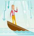 business woman standing in sinking boat vector image