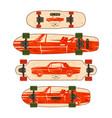 print for longboard vector image
