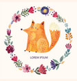 fox and flowers vector image vector image