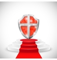 Red Glossy Shield On Pedestal vector image vector image