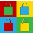 Pop art shopping bag icons vector image
