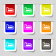 Chart icon sign Set of multicolored modern labels vector image