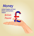 Money- The British Pound on palm vector image