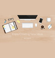 Realistic work desk organization top view with vector image vector image
