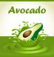 a splash of juice from a falling avocado and drops vector image