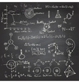 Chemical formulas and drawings on a chalkboard vector image