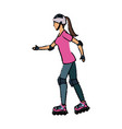 girl roller skate activity hobby sport vector image
