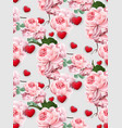 valentines day pattern roses and hearts vector image