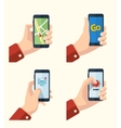 hand holding smartphone icons vector image