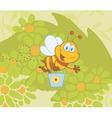 Cartoon bee gathering honey vector image vector image