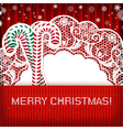 Christmas decorations on handmade knitted vector image vector image
