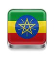 Metal icon of Ethiopia vector image