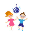 flat boy and girl dancing at party vector image