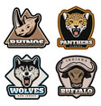 vintage colorful animals emblems set vector image vector image