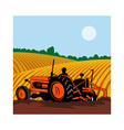 vintage tractor with farmer driving vector image vector image