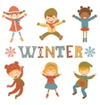 Jumping winter kids vector image