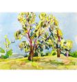 original watercolor painting of summer tree vector image